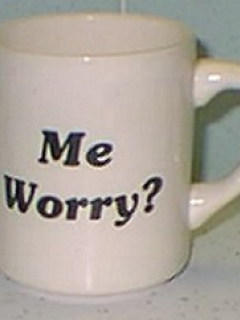 Go to Coffee Mug 'Me Worry?' Plain White • USA