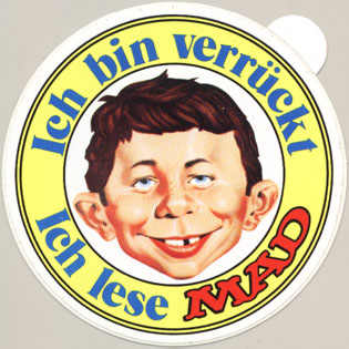 Sticker: 'Ich bin verrückt - Ich lese MAD' yellow version • Germany