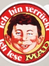 Image of Sticker: 'Ich bin verrückt - Ich lese MAD' red version