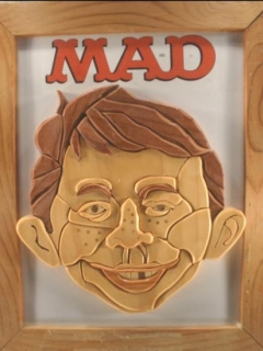 Wood portrait of Alfred E. Neuman