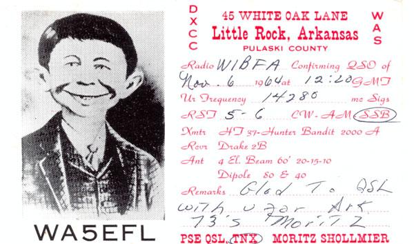 QSL Alfred E Neuman Little Rock AR card • USA