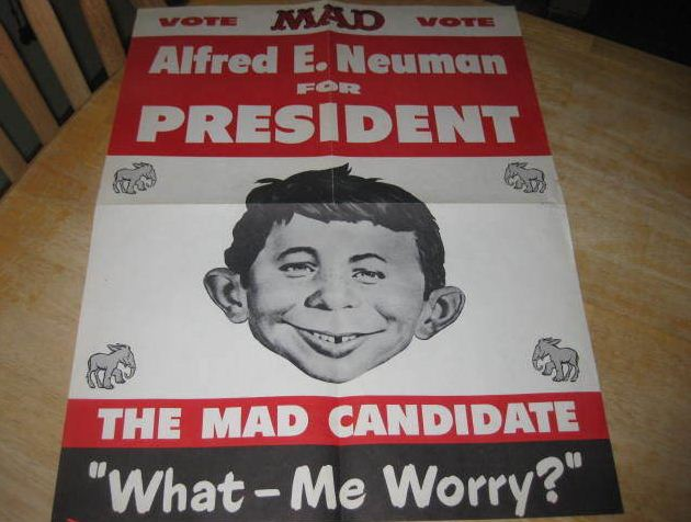 This is a 1960 mad magazine alfred e neuman for president campaign kit produced in 1960 and sold through the pages of mad magazine this kit contains