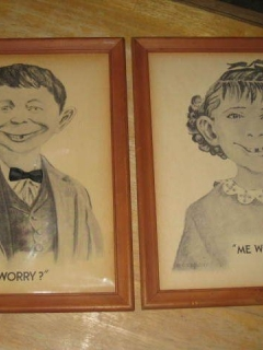 Set Of 2 Framed Alfred E Neuman Pictures • USA