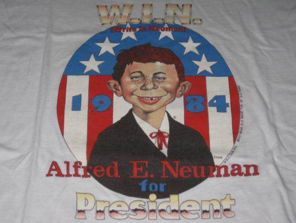 T-Shirt 'Alfred E. Neuman For President' 1984 Red • USA