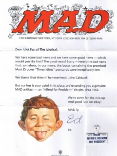Postcard Letter of apology for 'Three Idiots' • USA