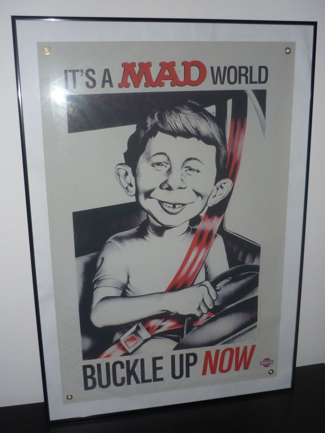 Vinyl Sign Alfred E. Neuman 'Buckle Up' by Nissan • USA