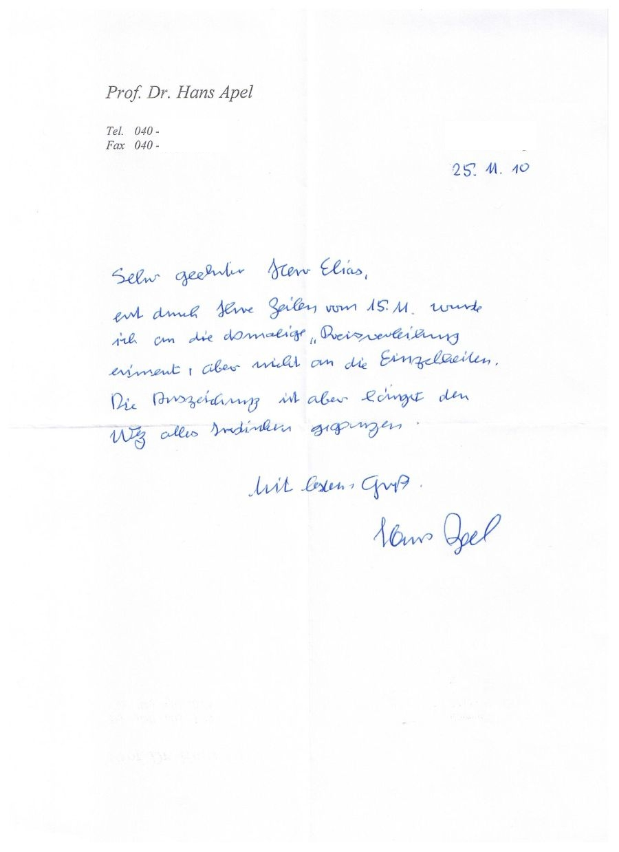Letter from Hans Apel • Germany