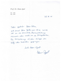 Go to Letter from Hans Apel
