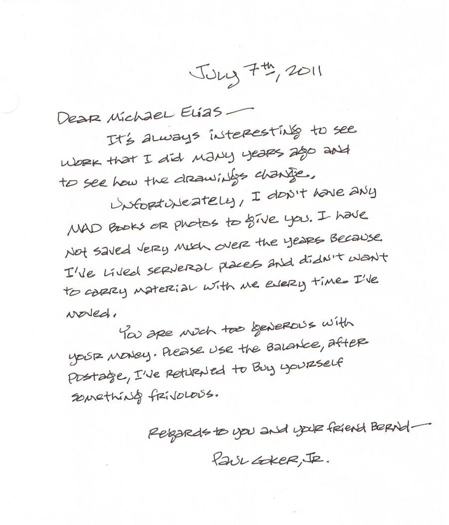 Letter from Paul Coker Jr. • USA