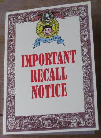 Greeting Card Gibson Greetings Important Recall Notice • USA