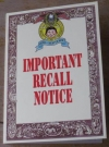 Greeting Card Gibson Greetings Important Recall Notice