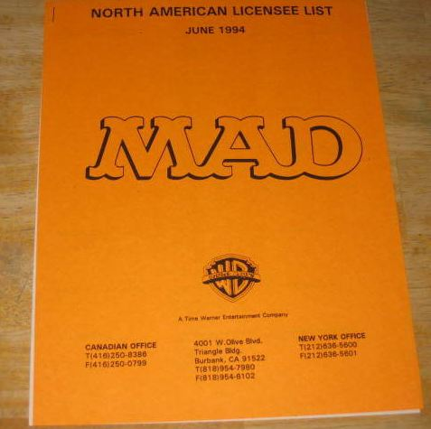 Licensee List from MAD Magazine • USA