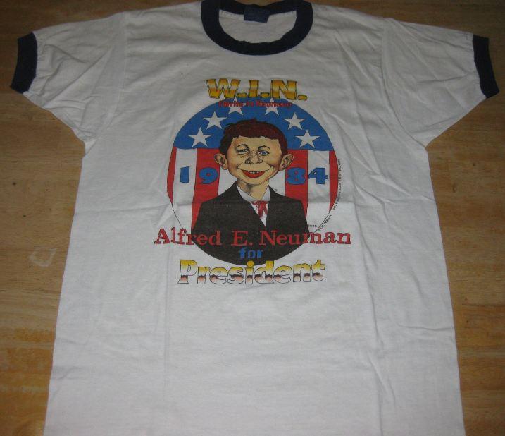 T-Shirt 'Alfred E. Neuman' For President Blue Trim • USA