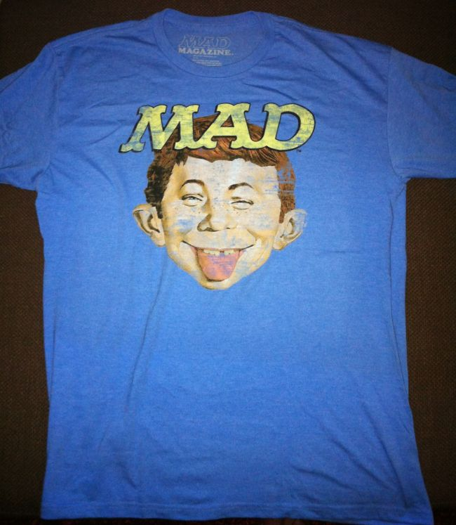 T-Shirt Alfred on blue with yellow MAD logo • USA