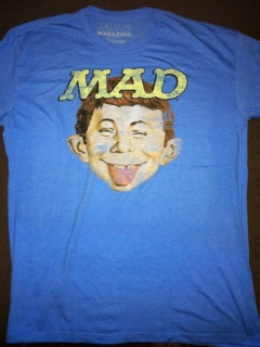 Go to T-Shirt Alfred on blue with yellow MAD logo