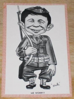 Go to Postcard Alfred E. Neuman G.I. Soldier Pink Border • USA