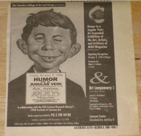 Newspaper Advertisement MAD Original Art Exhibition Columbus, Ohio • USA