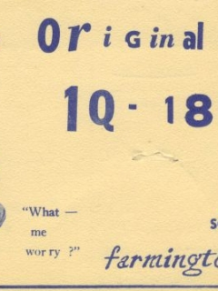 Go to Postcard Radio Ad 'The Original 1Q-1848' with Alfred face • USA