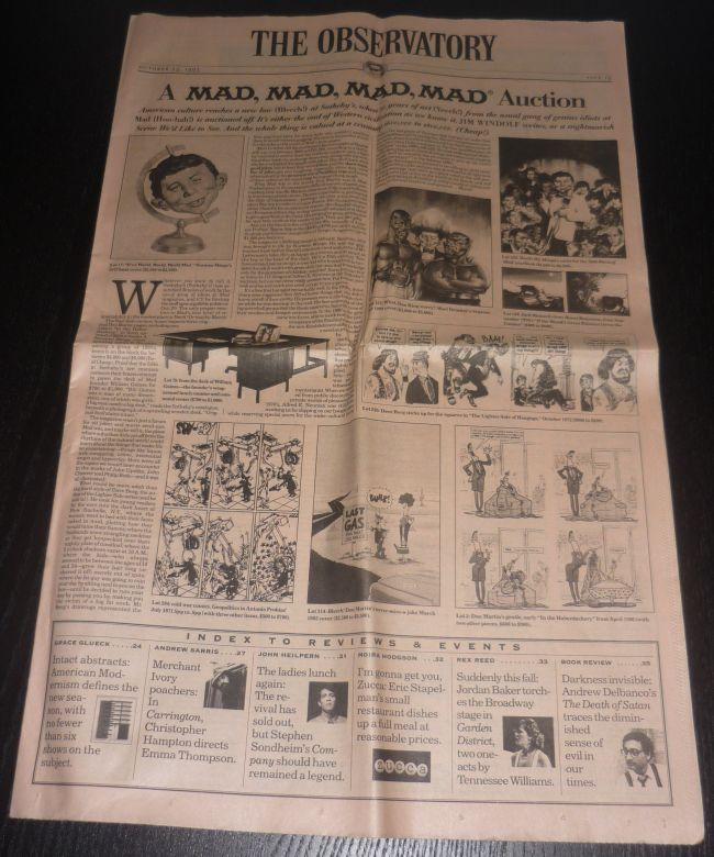 Newspaper Ad 'A Mad, Mad, Mad, Mad Auction' from The Observatory • USA