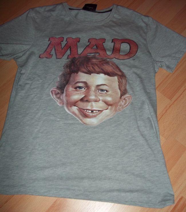 T-Shirt 'Certified MAD' Alfred E. Neuman face, grey • USA