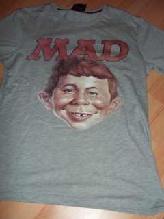 Go to T-Shirt 'Certified MAD' Alfred E. Neuman face, grey