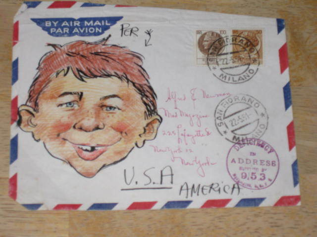 Mailed Envelope Alfred E. Neuman From Italy  • Italy