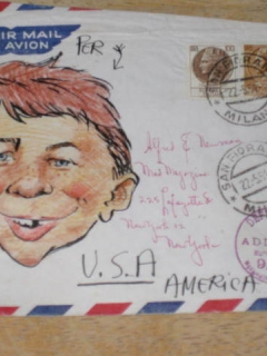 Alfred E. Neuman Mailed Envelope From Italy