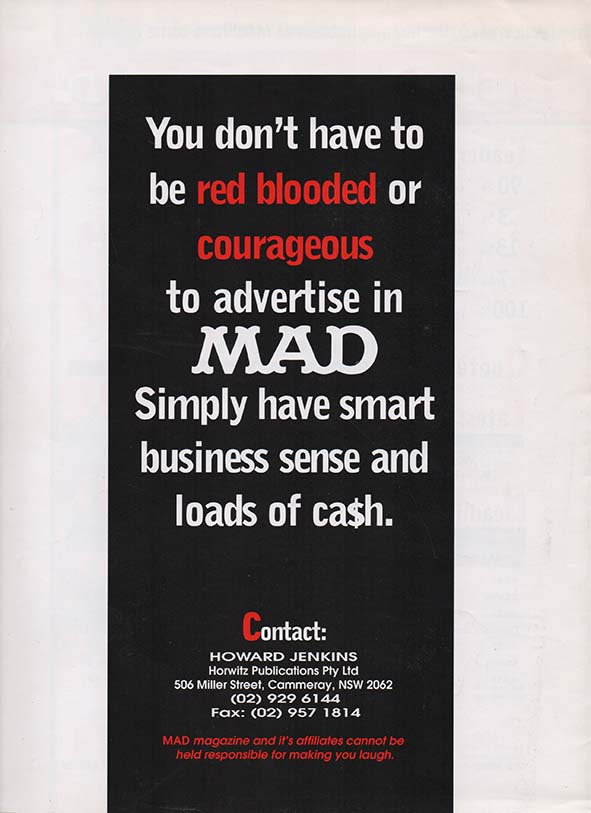 Ad Sheet 'Red Blooded or Courageous' • Australia