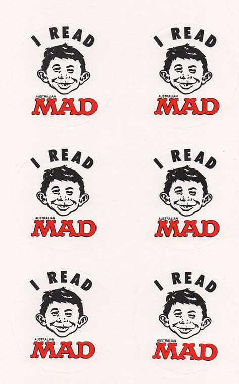 Sticker Sheet 'I Read MAD' 1990 • Australia
