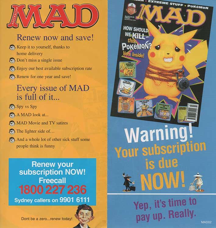 Promotional Letter MAD subscription • Australia