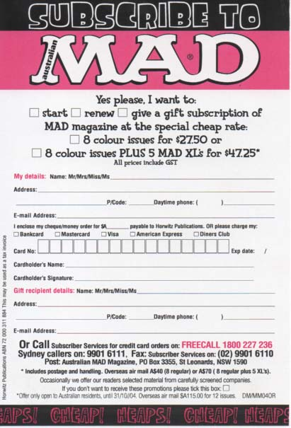 Subscription Card MAD Magazine • Australia
