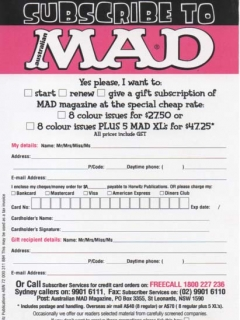 Go to Subscription Card MAD Magazine • Australia
