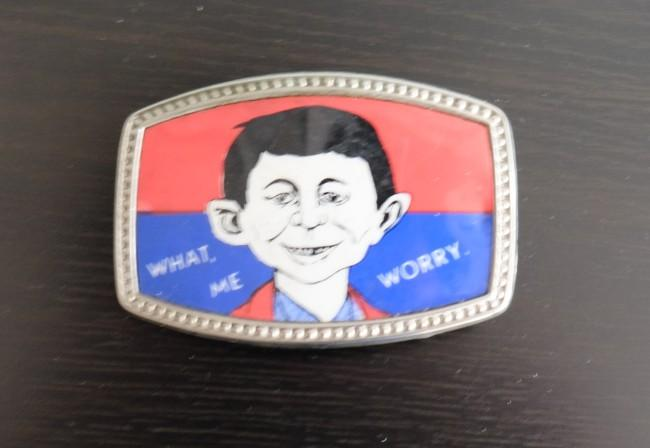 Belt Buckle: Red / Blue with Pre-MAD Alfred Face • USA