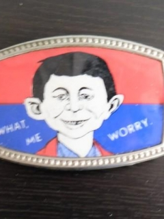 Go to Belt Buckle: Red / Blue with Pre-MAD Alfred Face • USA