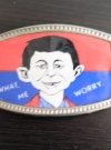 Image of Belt Buckle: Red / Blue with Pre-MAD Alfred Face