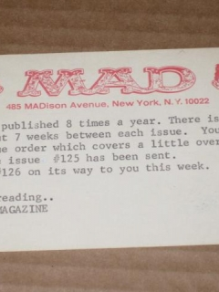 Go to Subscription Renewal Notice Card 1960's MAD Magazine • USA