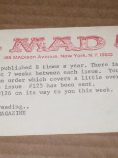 Subscription Renewal Notice Card 1960's MAD Magazine • USA
