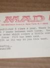 US 1960's MAD Magazine Subscription Renewal Notice Card Manufactor: E.C. Comics Publication Date: 1960