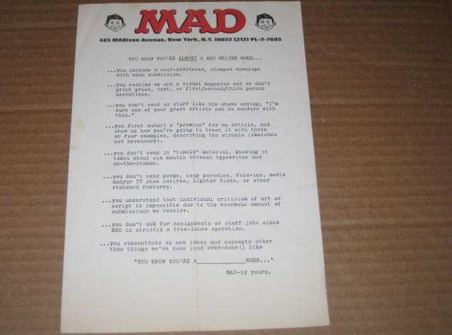 "Original ""Writer"" Rejection Slip 1970's / 1980's MAD Magazine • USA"