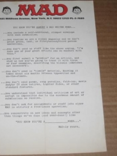 "Go to Original ""Writer"" Rejection Slip 1970's / 1980's MAD Magazine • USA"