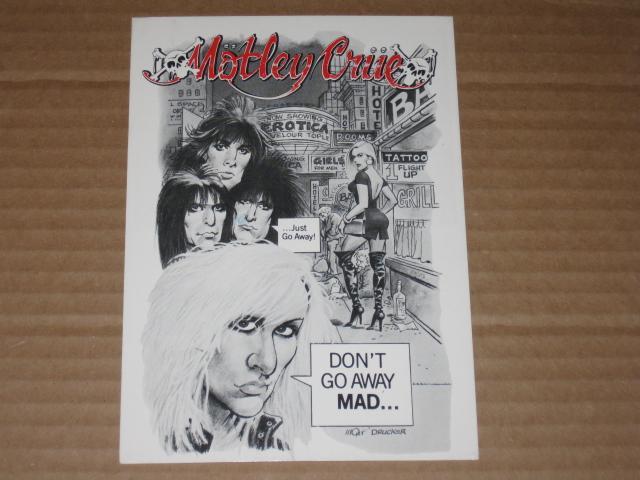 Postcard Motley Crue Original Promo w/ Mort Drucker Art • USA