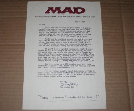 Signed Letter MAD Magazine / Jerry DeFuccio Original (1960's Photocopy) • USA