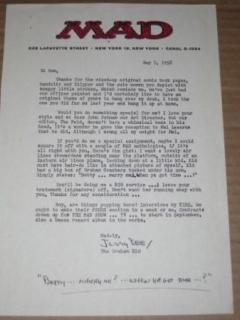 Go to Signed Letter MAD Magazine / Jerry DeFuccio Original (1960's Photocopy) • USA