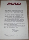 US MAD Magazine / Jerry DeFuccio Original Signed Letter (1960's Photocopy) Manufactor: E.C. Comics Publication Date: 7th May 1958