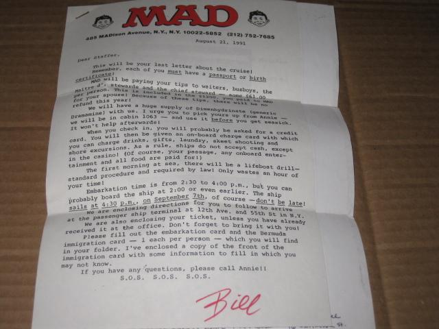 Signed Letter MAD Trip - The 1991 MAD Cruise • USA