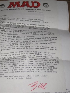 Go to Signed Letter MAD Trip - The 1991 MAD Cruise • USA