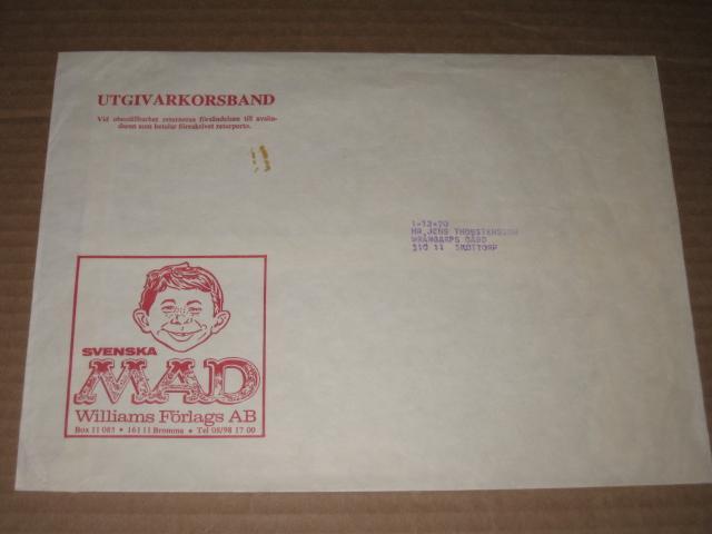 Mailing Envelope 1960's Swedish MAD Magazine • Sweden