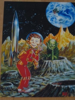 Go to The Comics Journal #225 Original Color Cover Art Copy (Kelly Freas)