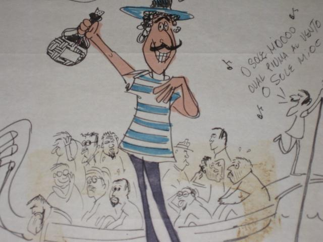 Sergio Aragones Hand Inked & Colored MAD Trip Letter (Italy) • USA