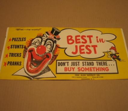 Advertising Poster Fred Alan Novelty Company w/ What- Me Worry? • USA